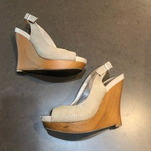 Jessica Simpson Wood Wedges with Textured Leather
